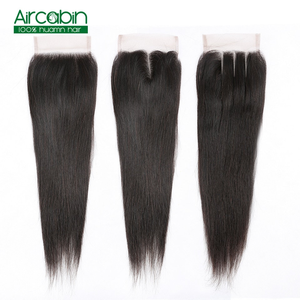 "4x4 Brazilian Lace Closure Straight Human Remy Hair Free Part 8""-20"" Natural Color FREE SHIPPING"
