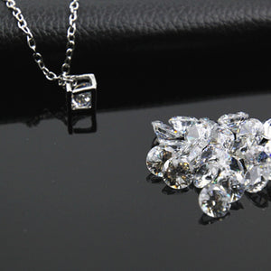 Square Cube Necklace&Pendant Crystal Long Statement Chain Necklace Jewelry For Women Cubic Fashion Chain Female Gift x259