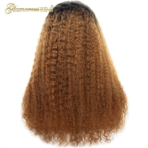 Peruvian Glueles Kinky Curly Lace Front Long Wigs for Women Bleached Knots with Baby Hair