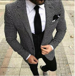 Mens Checkered Suit Houndstooth Custom Made Men Dress Suits,Tailored Casual Men Suits Duotone Weave Hounds Tooth Check 3 Pieces