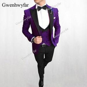 Gwenhwyfar Elegant Grey Formal Men Suit Slim Fit Mens Suits Bespoke Groom Tuxedo Blazer for Wedding Prom Jacket Pants with Vest