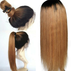 1B/27 Ombre Color Lace Front Human Hair Wigs With Baby Hair Straight Brazilian