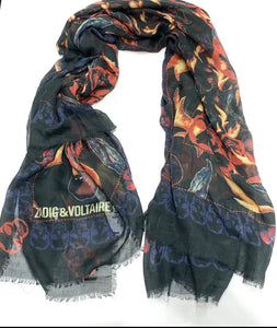 "ZADIG & VOLTAIRE ""KERRY CHERRY FLAME"" SCARF"""
