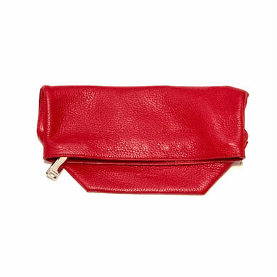 JIL SANDER RED LEATHER CLUTCH, MSRP $650