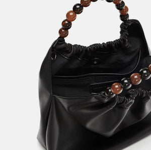 ZARA FAUX LEATHER CROSSBODY BAG WITH BEADED HANDLE