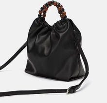 Load image into Gallery viewer, ZARA FAUX LEATHER CROSSBODY BAG WITH BEADED HANDLE