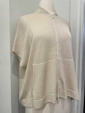 BRUNELLO CUCCINELLI ZIP UP LIGHT KNIT SWEATER IVORY WITH SHORT SLEEVES SZ M