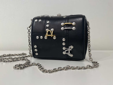 Alexander McQueen Lambskin Gold/Silver Embellished Mini Box Bag