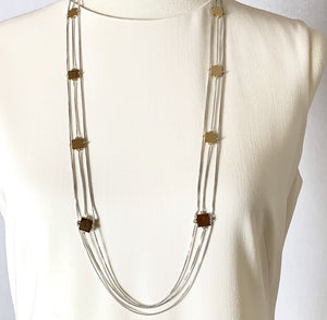 JENNY BIRD SILVER AND GOLD TRIPLE CHAIN NECKLACE