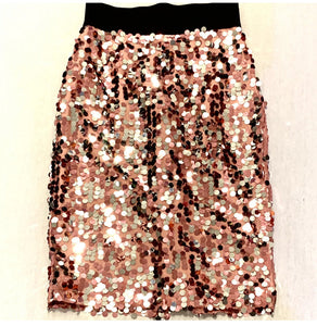 SEQUIN MIDI PENCIL SKIRT WITH ELASTIC WAIST, NWT, SZ 8