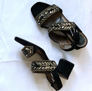 MARNI CRYSTAL EMBELLISHED SUEDE SANDALS, SZ 38.5