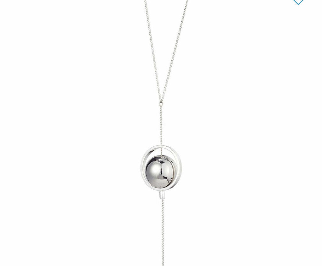 JENNY BIRD SILVER HOOP WITH ORB LARIAT NECKLACE