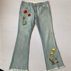 STELLA MCCARTNEY EMBROIDERED JEANS, SZ 29