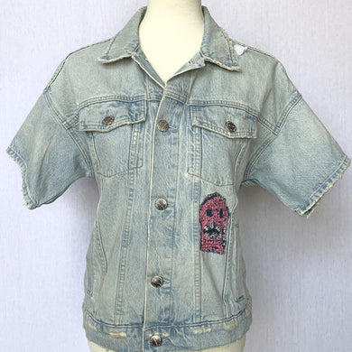 CURRENT/ELLIOTT HAND EMBROIDERED DENIM JACKET, SZ 1