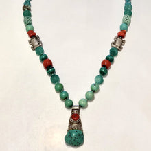 Load image into Gallery viewer, BOUTIQUE STONE BEAD, JADE, CORAL AND SILVER NECKLACE