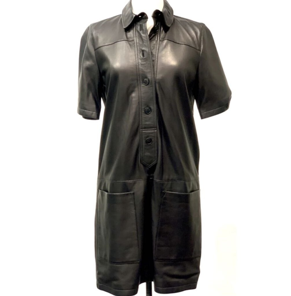 BURBERRY BRIT LEATHER SHIRT DRESS, SZ 8