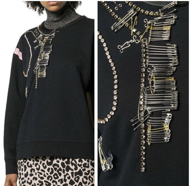 NO 21 SAFETY PIN EMBELLISHED SWEATER, SZ 38 (S)