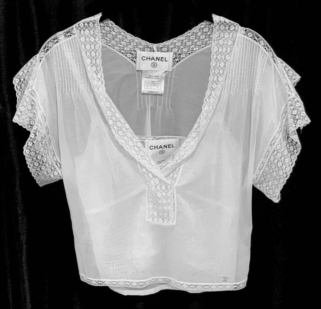 CHANEL LACE BLOUSE AND CAMI, SZ 34