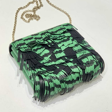 SMYTHSON OF BOND ST GREEN AND BLACK LEATHER FRINGE CROSSBODY BAG, NWT