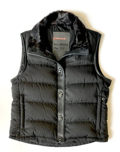PRADA LEATHER AND FUR LINED VEST, SZ 42 (S)
