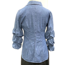 Load image into Gallery viewer, BAILEY 44 DENIM SHIRT WITH RUCHED SLEEVE SZ S