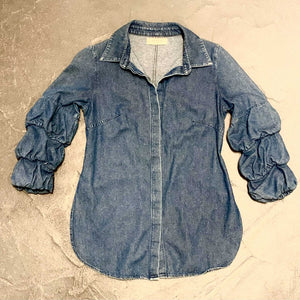 BAILEY 44 DENIM SHIRT WITH RUCHED SLEEVE SZ S