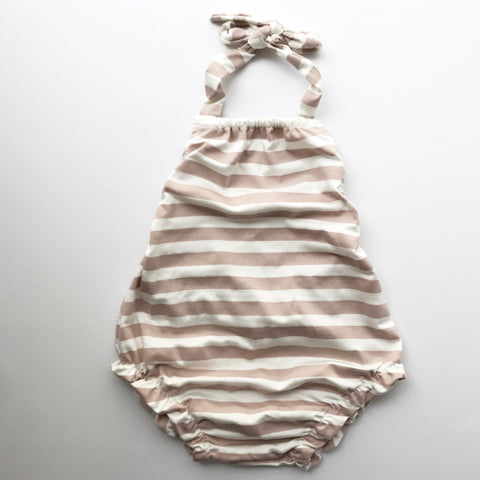 organic criss cross playsuit in natural + charcoal grey stripe