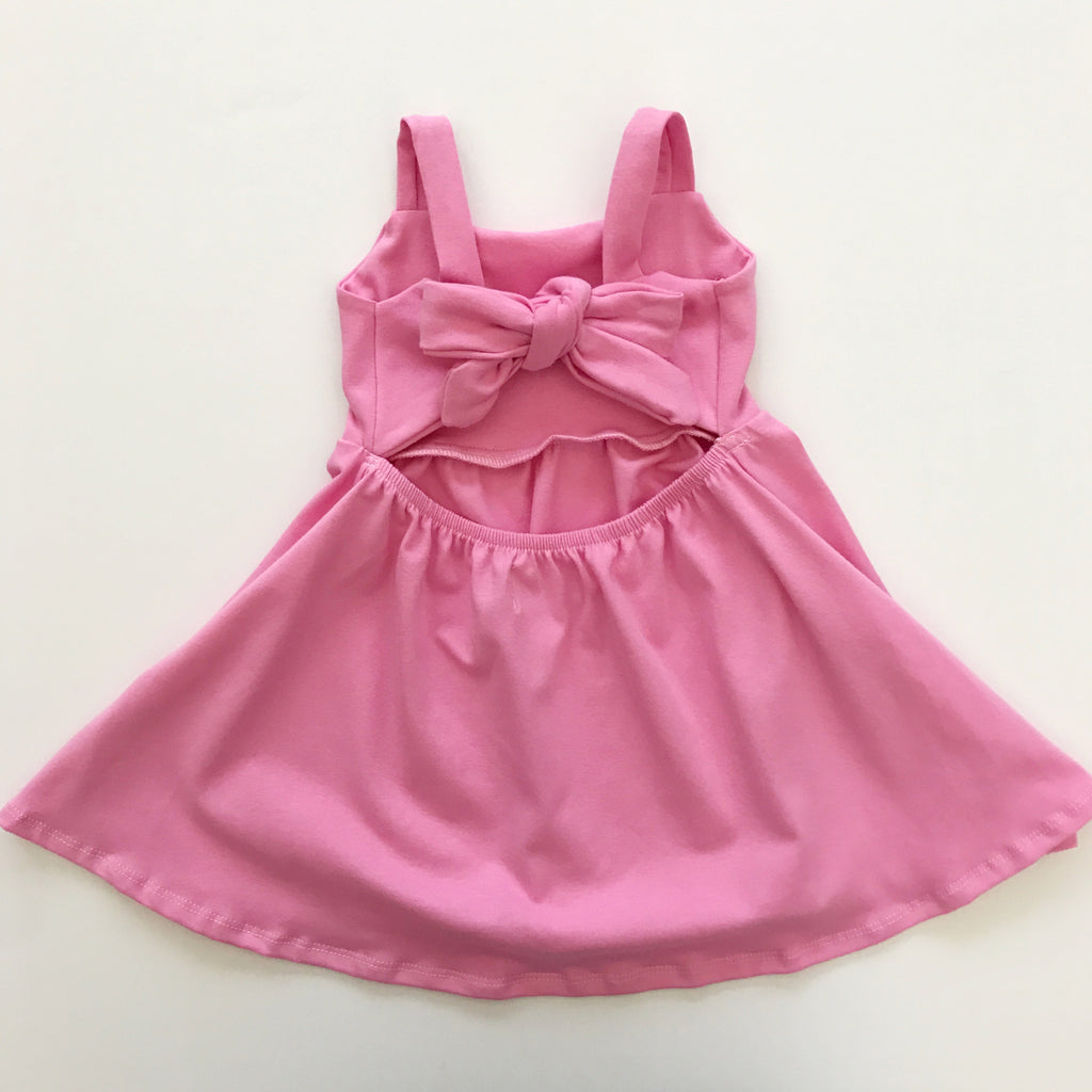 Bow back dress in tulip pink