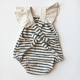 criss cross playsuit in natural + charcoal grey stripe