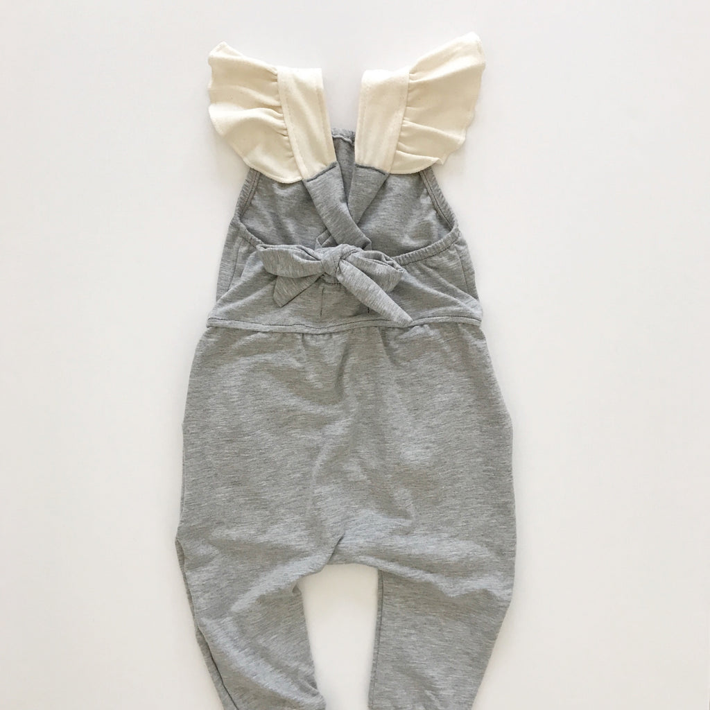criss cross jumpsuit in heather grey