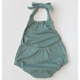 organic cotton halter playsuit in dusty teal