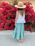 tiered maxi skirt in dusty teal