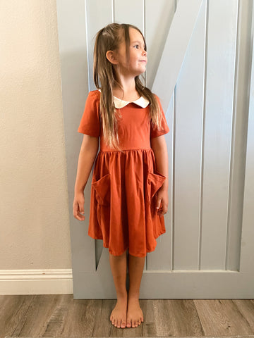 open back dress in rust