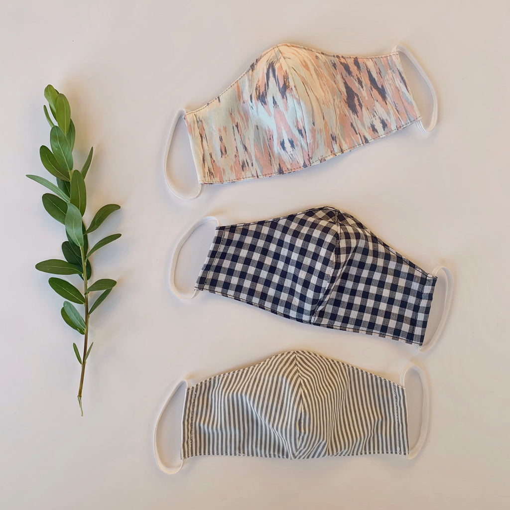 face mask | womens | navy gingham