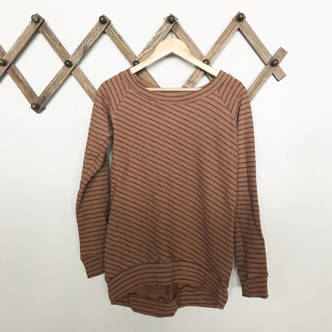 french terry striped sweatshirt | natural
