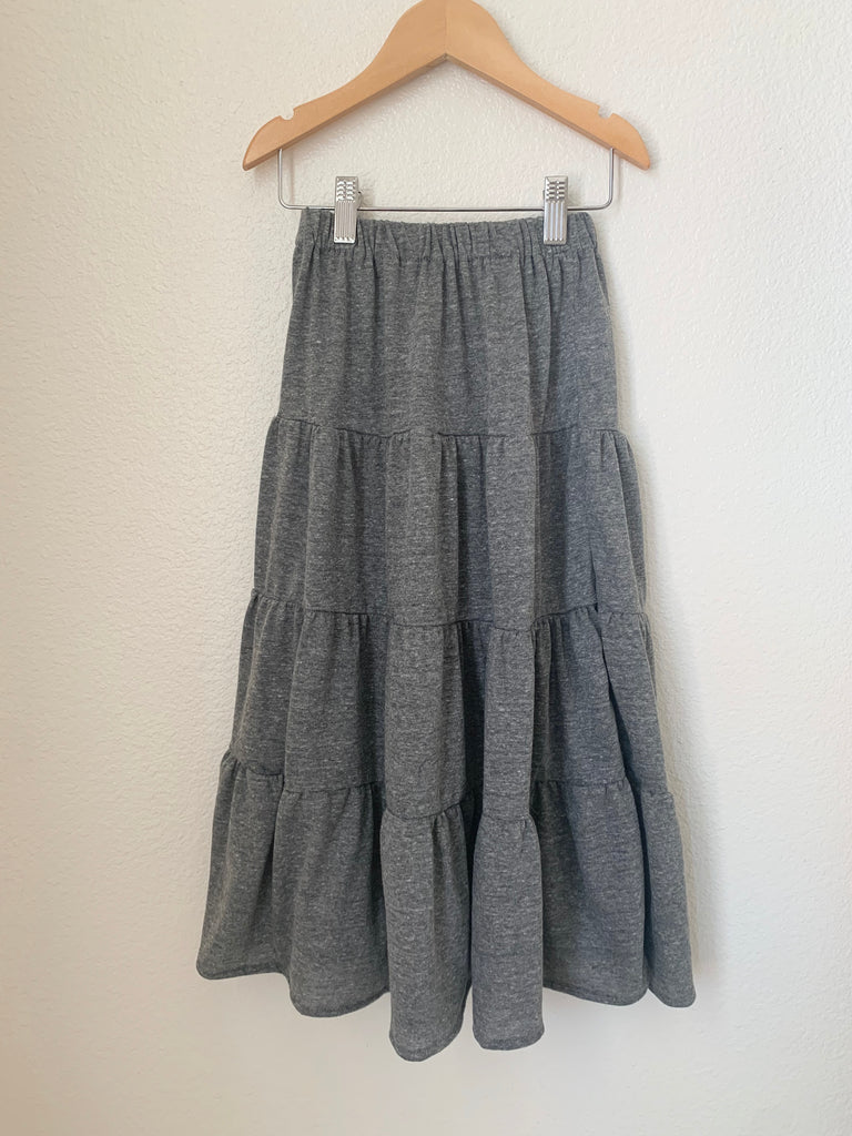 tiered maxi skirt in grey