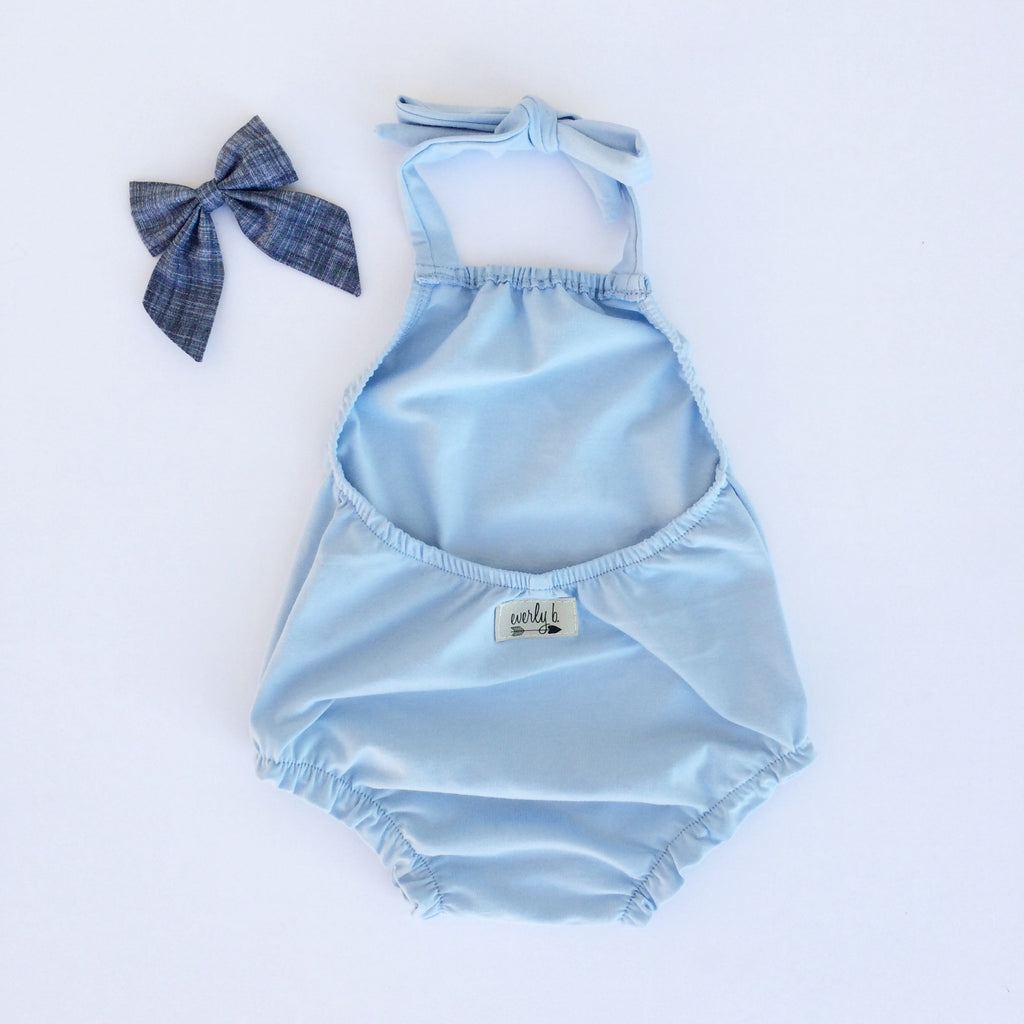 halter playsuit | sky blue
