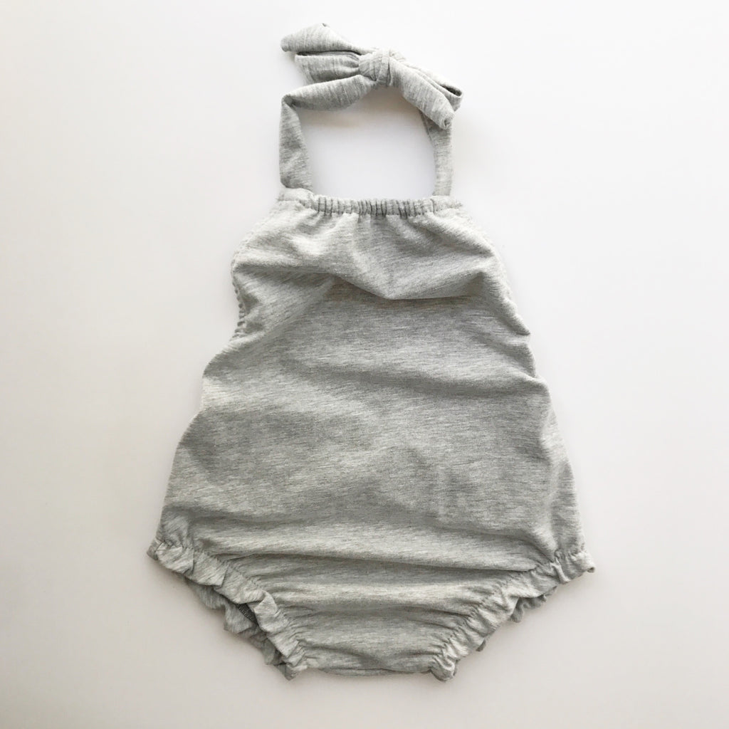 halter playsuit in heather grey