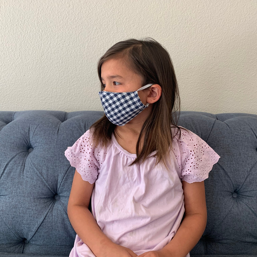face mask | children | navy gingham