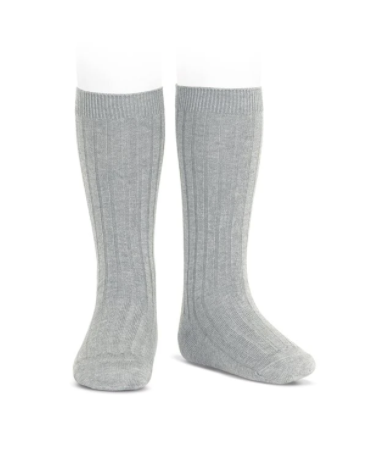ribbed knee highs | light grey