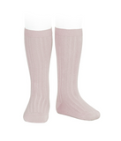 ribbed knee highs | dusty rose
