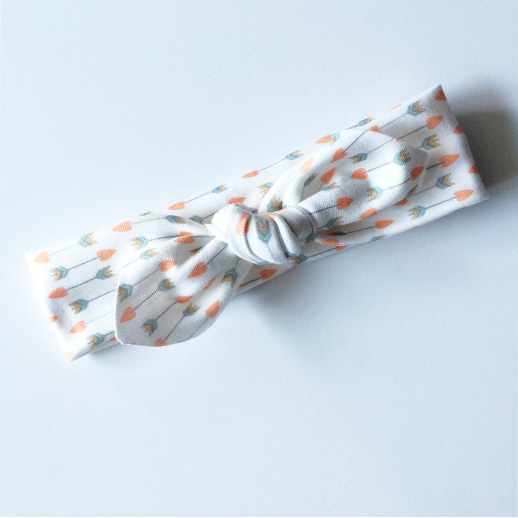 organic tie knot headband // love arrows