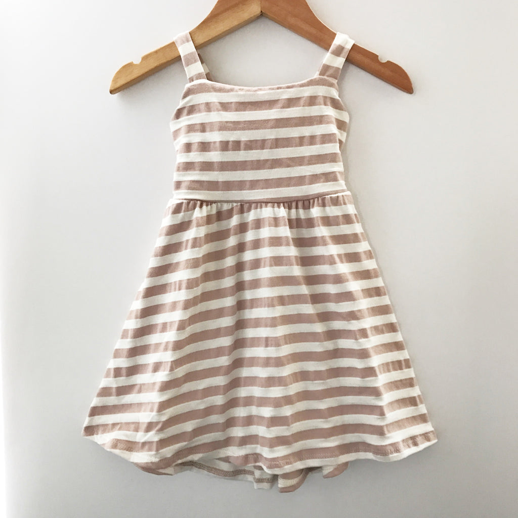 Bow back dress in mauve stripe