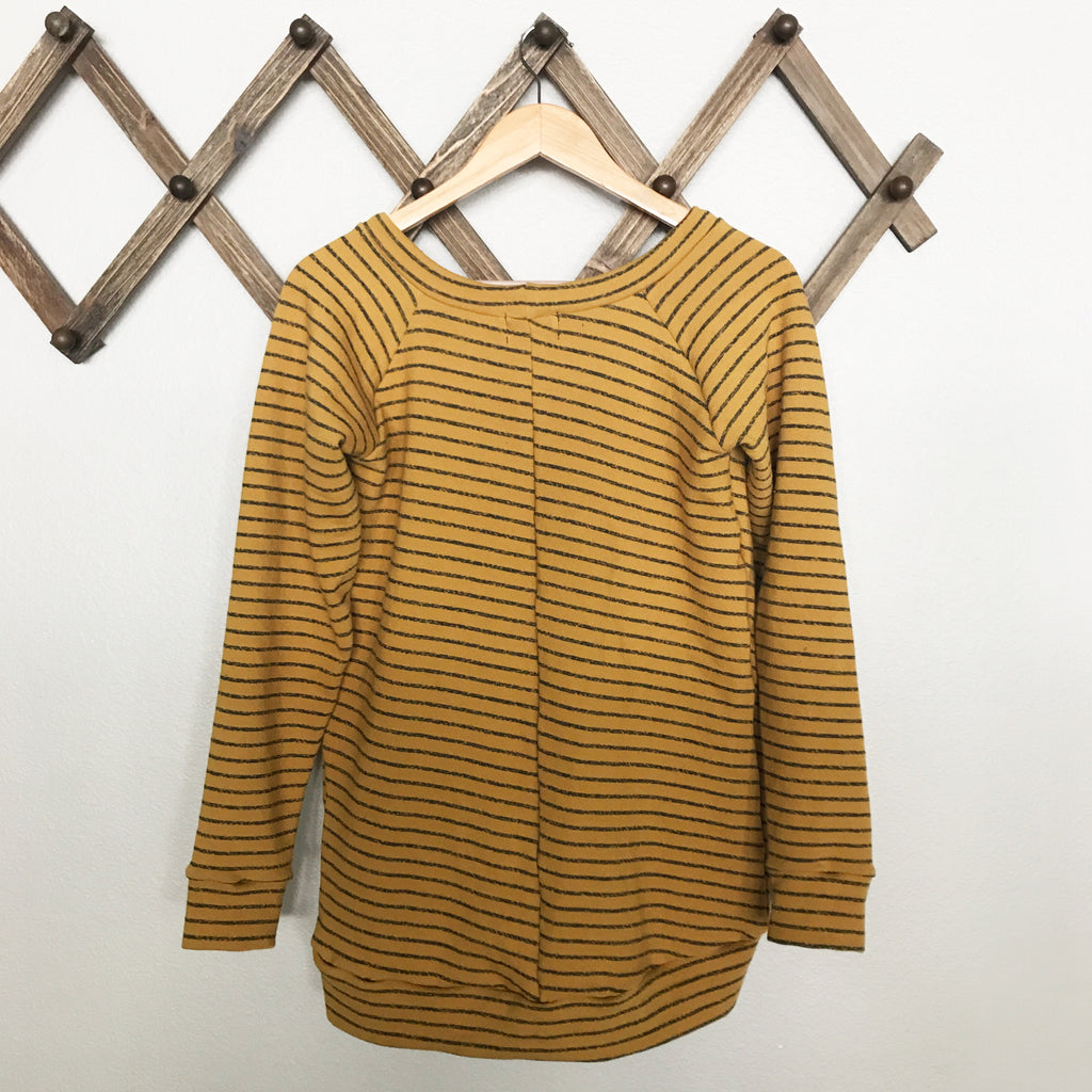 French terry striped sweatshirt | mustard