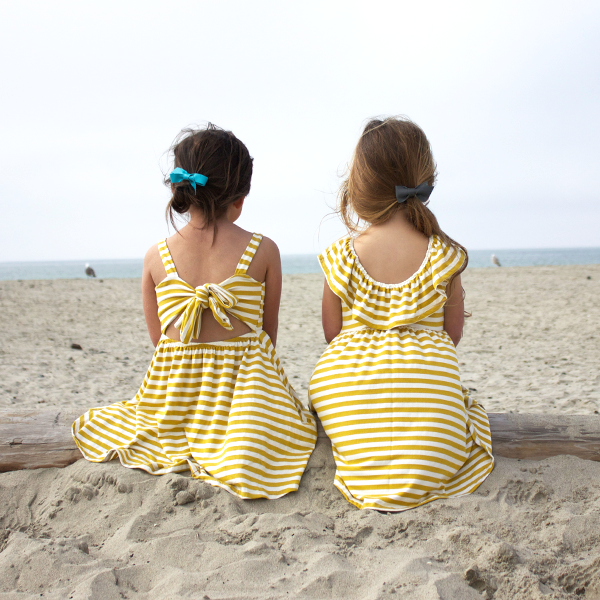 Bow back dress in mustard stripe