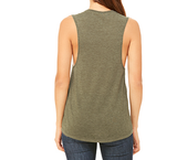 cuddles & coffee muscle tank in heather olive