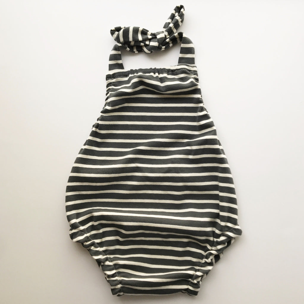 organic cotton halter playsuit in charcoal grey and natural stripe