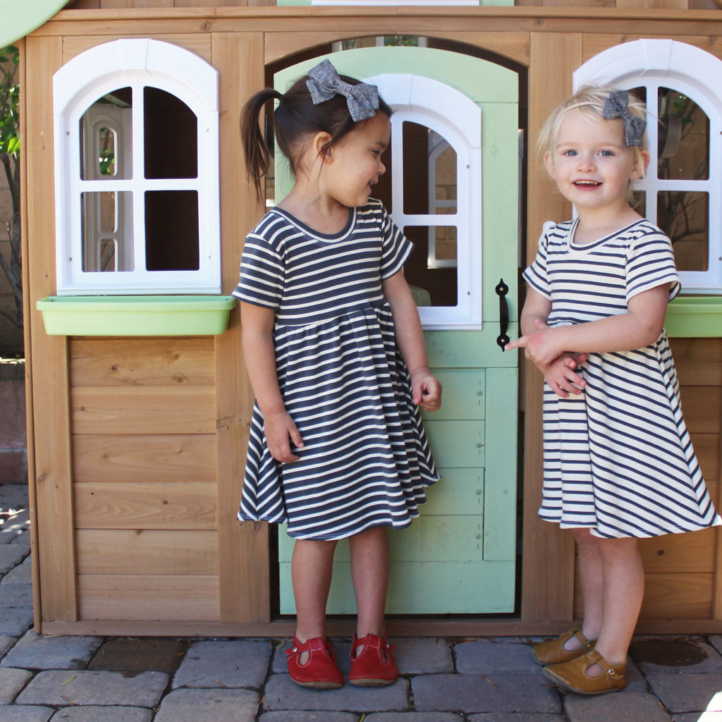 everyday play dress |  natural + charcoal grey stripe