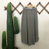 pocket skirt in charcoal grey + natural stripe