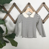 organic cotton collar top | natural + charcoal grey stripe